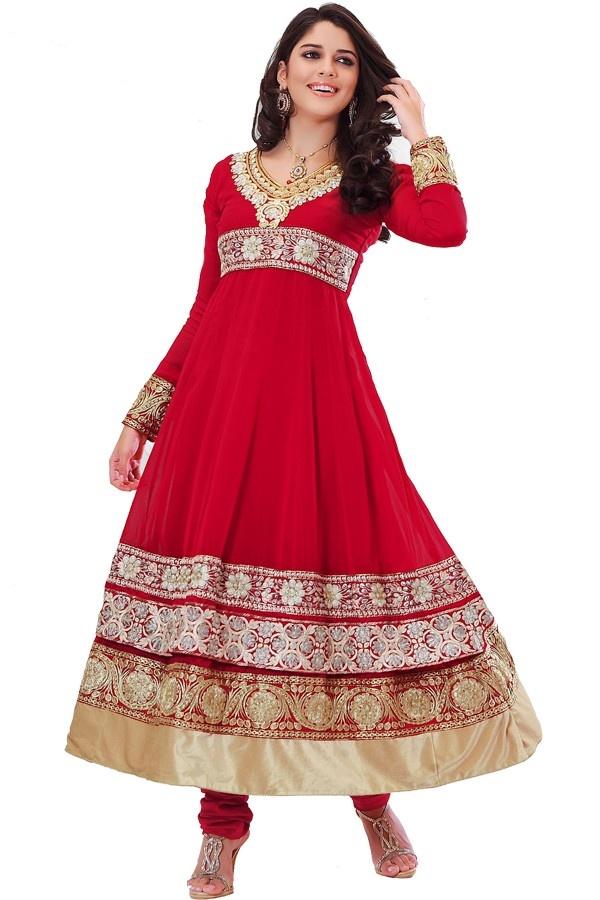 Red resham enhanced churidar suit Fabric - Georgette Color - Red http://valehri.com/salwar-kameez/794-red-resham-enhanced-churidar-suit.html