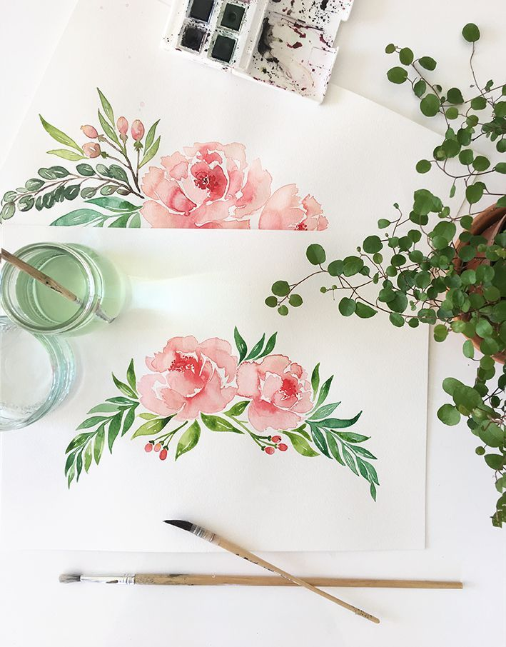 Illustration Faire Part Mariage Pivoine A L Aquarelle Peony