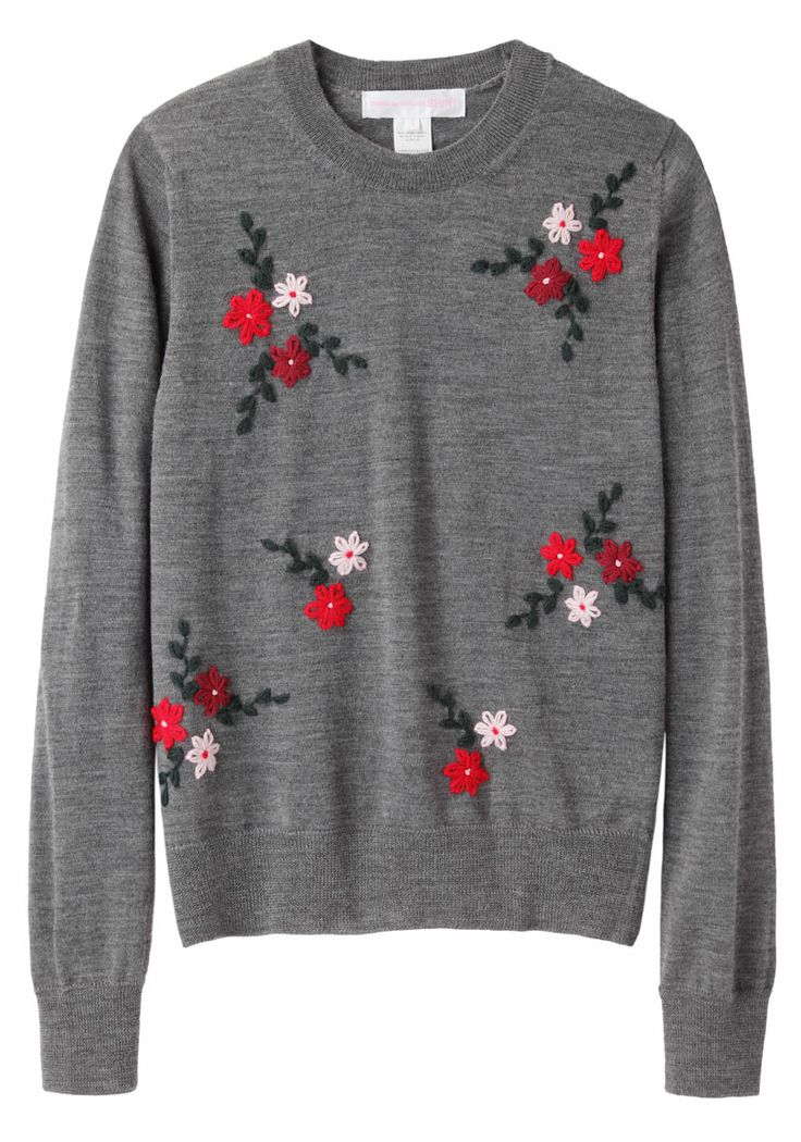 florals perk up a basic grey sweater