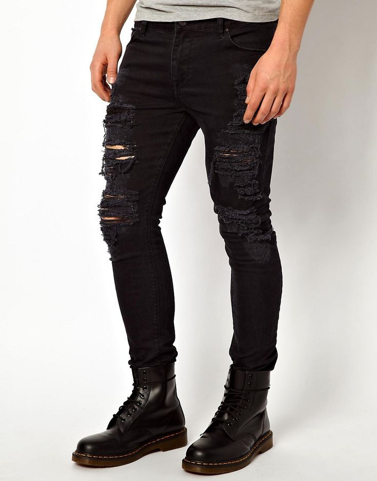 Image 1 of ASOS Super Skinny Jeans With Extreme Rips