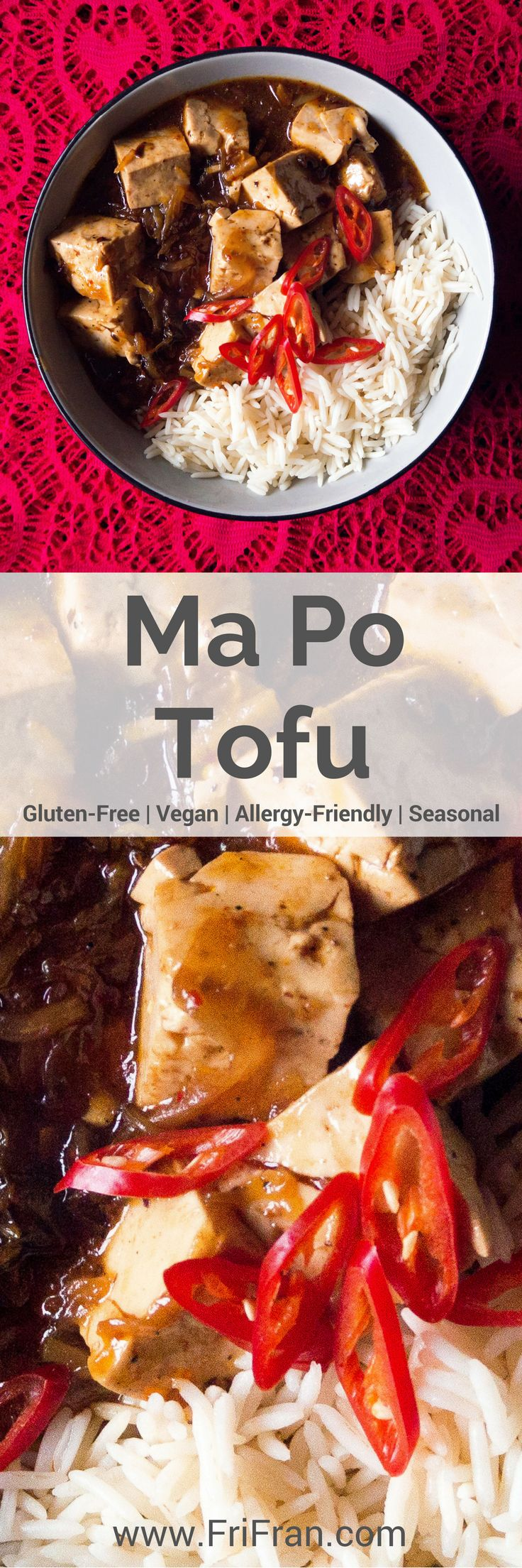 Ma Po Tofu is a dish from the Szechuan province of China. Szechuan peppercorns give a numbing, heat and with the chillies you get a warm, lingering heat. #GlutenFree #Vegan #GlutenFreeVegan #Tofu #MaPoTofu  #ChineseNewYear #AllergyFriendly #Seasonal #AlliumFree #CoconutFree #FriFran #GlutenFreeVegan