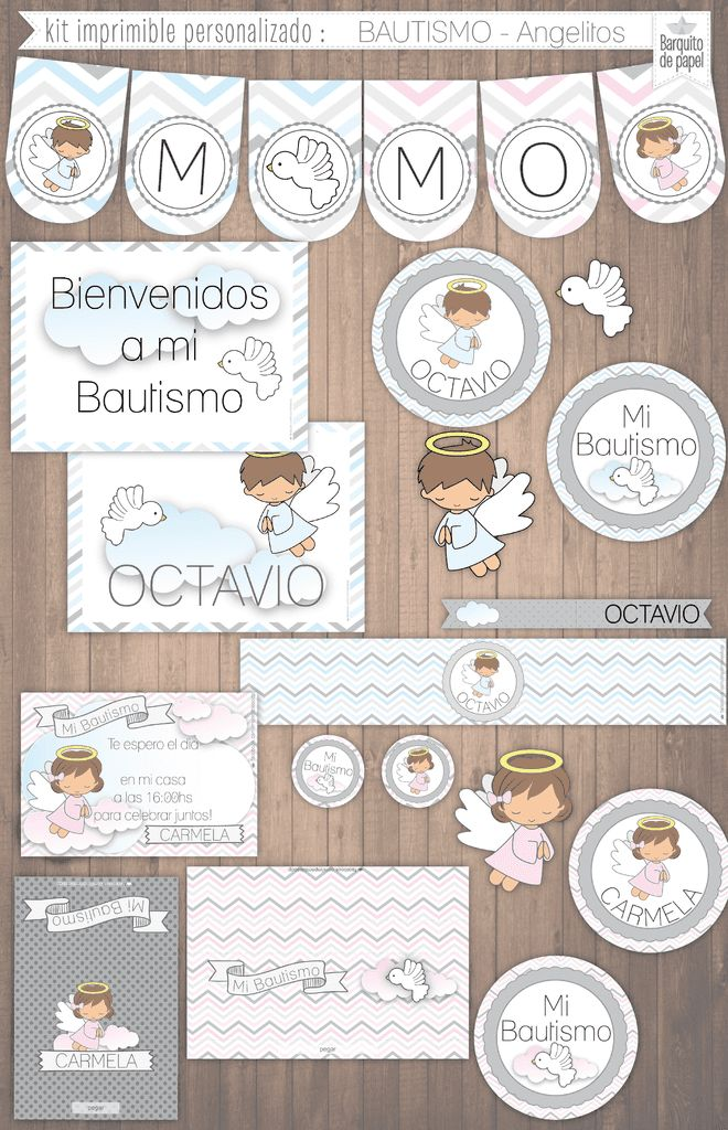 ANGELITOS BAUTISMO · kit imprimible personalizado · candy bar