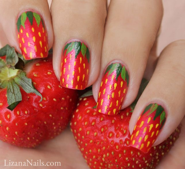 Strawberry Nail Art by Lizananails