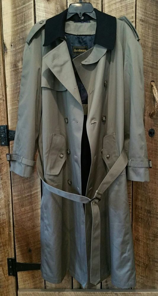 Jacobson's Trench Rain Coat long Overcoat, Full Removable Wool Liner Men's 40 R #Jacobsons #Trench