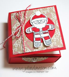 VIDEO Tutorial: Cookie Cutter Christmas Box Card with Earrings - Stampin' Up! 2016 Holiday Catalog www.juliedavison.com