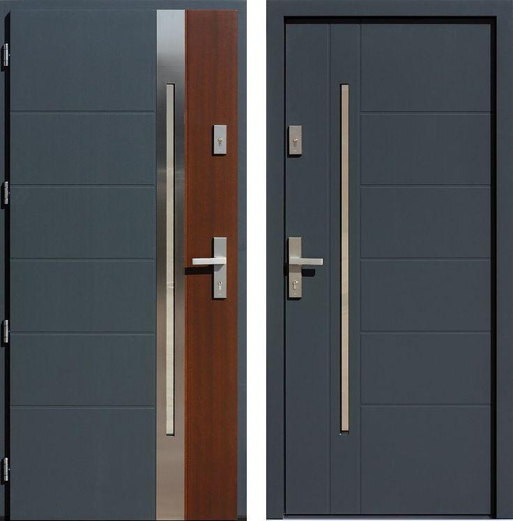 Drzwi wejściowe z aplikacjamii ze stali nierdzewnej inox wzór 475,5-475,15 antracyt + orzech