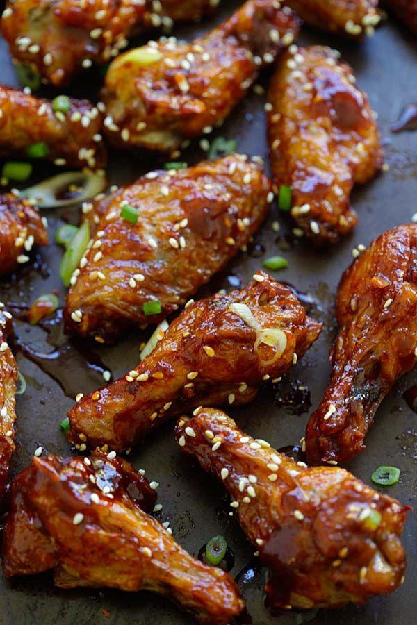 deliciosas alitas de pollo al horno de Corea locos con salsa de pimiento rojo coreano dulces y salados.  Chuparse los dedos |  rasamalaysia.com