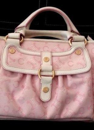 """Ravissant et authentique Sac👜 Céline modèle """"boogie """" en cuir et tissu toile.  rose hologramme et cuir blanc #celinebag #celine #hautecouture  PRIX NEUF: 1090€"""