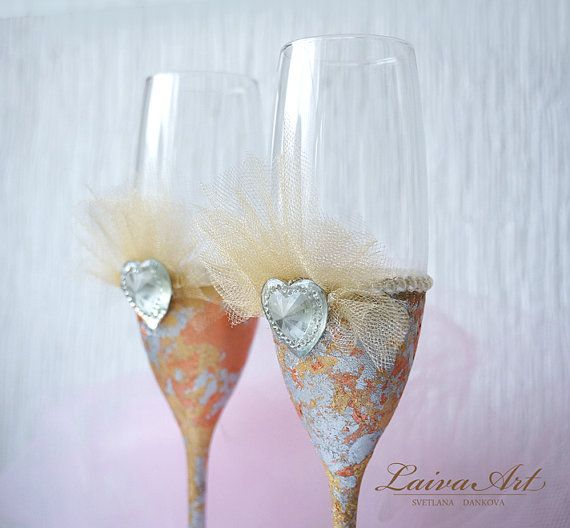 Wedding Champagne Glasses Wedding Champagne Flutes by LaivaArt