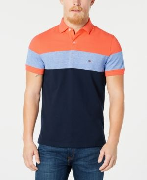 b49bb3fb Tommy Hilfiger Dylan Men's Custom Fit Striped Polo, Created for Macy's -  Red XXL