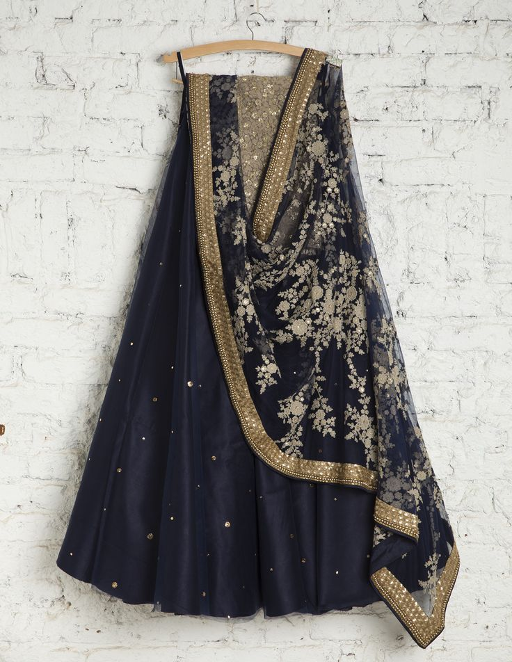 SwatiManish Lehengas SMF LEH 137 17 Persian blue lehenga with grey floral threadwork dupatta and blouse
