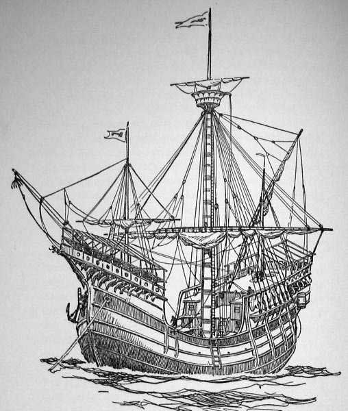 Caravel / carrack woodcarving - note the roof on the forcastle