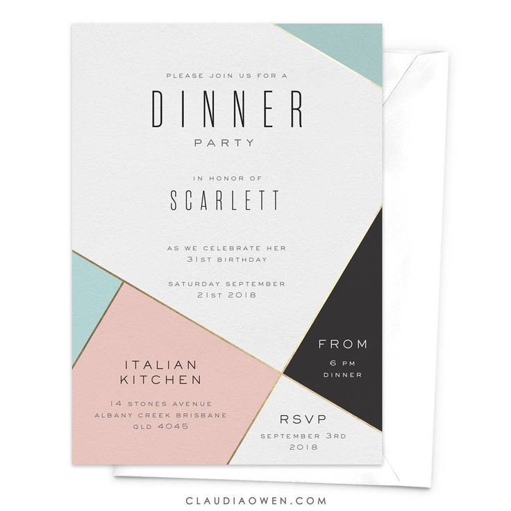 Dinner Party Invitation Modern Invitation Corporate Event