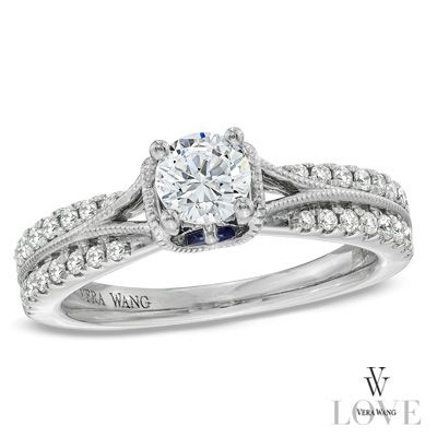 LOVE!  Vera Wang LOVE Collection 3/4 CT. T.W. Diamond Split Shank Engagement Ring in 14K White Gold