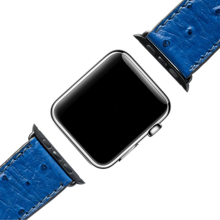 APPLE WATCH STRAP OSTRICH ROYAL BLUE / BLACK GOLDBLACK strap made of genuine Leather. Our Apple Watch Strap is made of finest calfskinleather and combines traditional craftsmanship with modern technology. The luxurious design is reflected in the unique embossing. The leather strap includes the installed adapters. The metallic adaptors enable an easy installation and uninstallation of your Apple Watch. Leather Strap with black Adapter Luxurious optic  7 hole size adjustable
