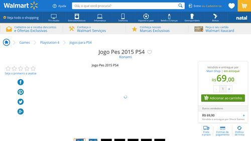 [Wal-Mart] Jogo Pes 2015 PS4 1383905 - de R$ 169,47 por R$ 69,00 (59% de desconto)