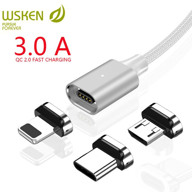 Wsken X2 Usb Type C Micro Usb Magnetic Cable For Iphone Xr Xs Charger Cable 3a Fast Charging For Sansung S9 Type Magnetic Charging Cable Micro Usb Phone Cables