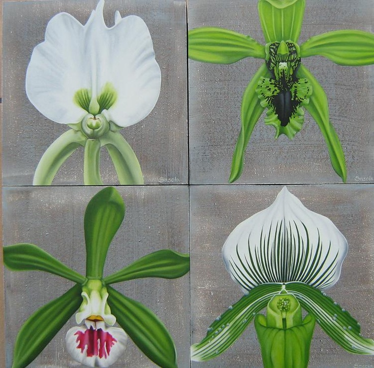 Orchids in Shades of Green: Oil on Wood
