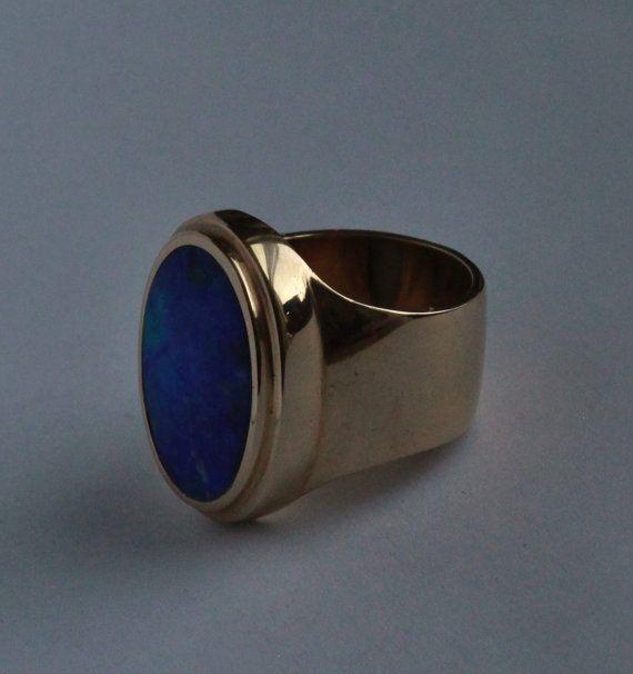 Ópalo negro de anillo de hombre oro amarillo de 14 k