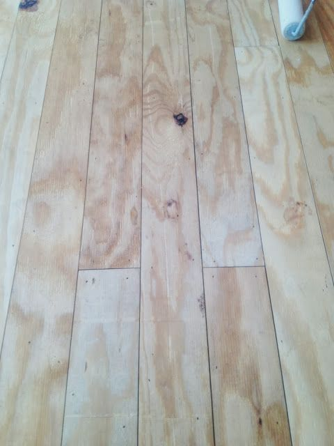 Plywood floors- cut pine plywood into planks and lay it down like hardwood flooring! Looks very pretty stained and costs a fraction of the price of new floors!