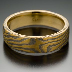 Classic Wood Grain Pattern Mokume Gane Ring, 22k Yellow Gold and Meteorite