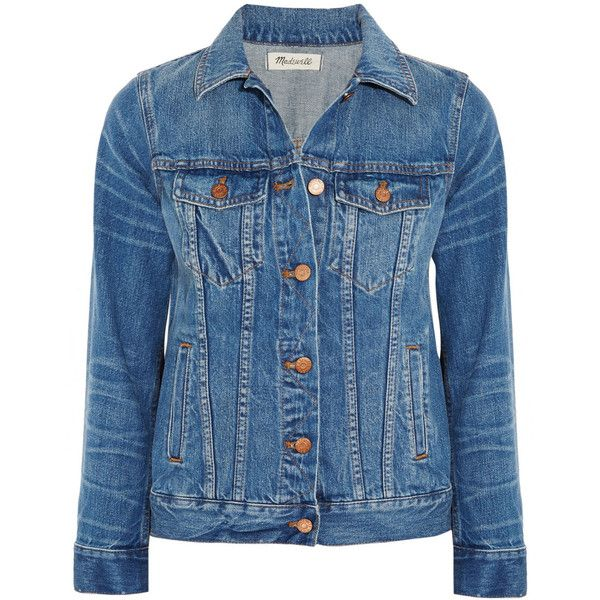 Madewell Classic Jean denim jacket (4350 TWD) ❤ liked on Polyvore featuring outerwear, jackets, blue, coats, coats & jackets, mid denim, blue jackets, blue denim jacket, madewell jacket and blue jean jacket