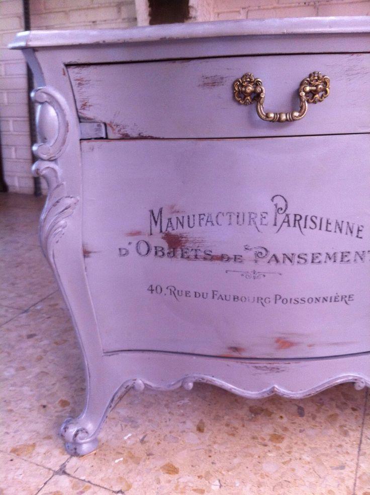 Detalle mesa de noche nightstand grey mesitadenoche - Restauracion muebles vintage ...