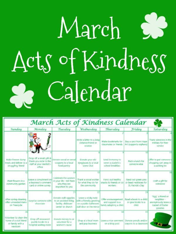 These monthly kindness calendars are such a great visual reminder to do good each day. I love the ideas for the March holidays and special themes in this March acts of kindness calendar!
