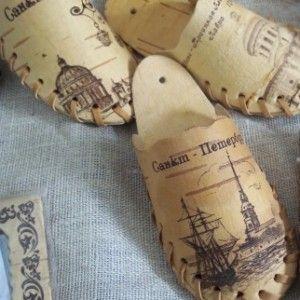 Сувенирные тапочки из бересты