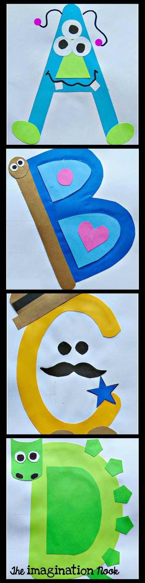 Engaging alphabet book from A to Z. Fun to make capital letter crafts.