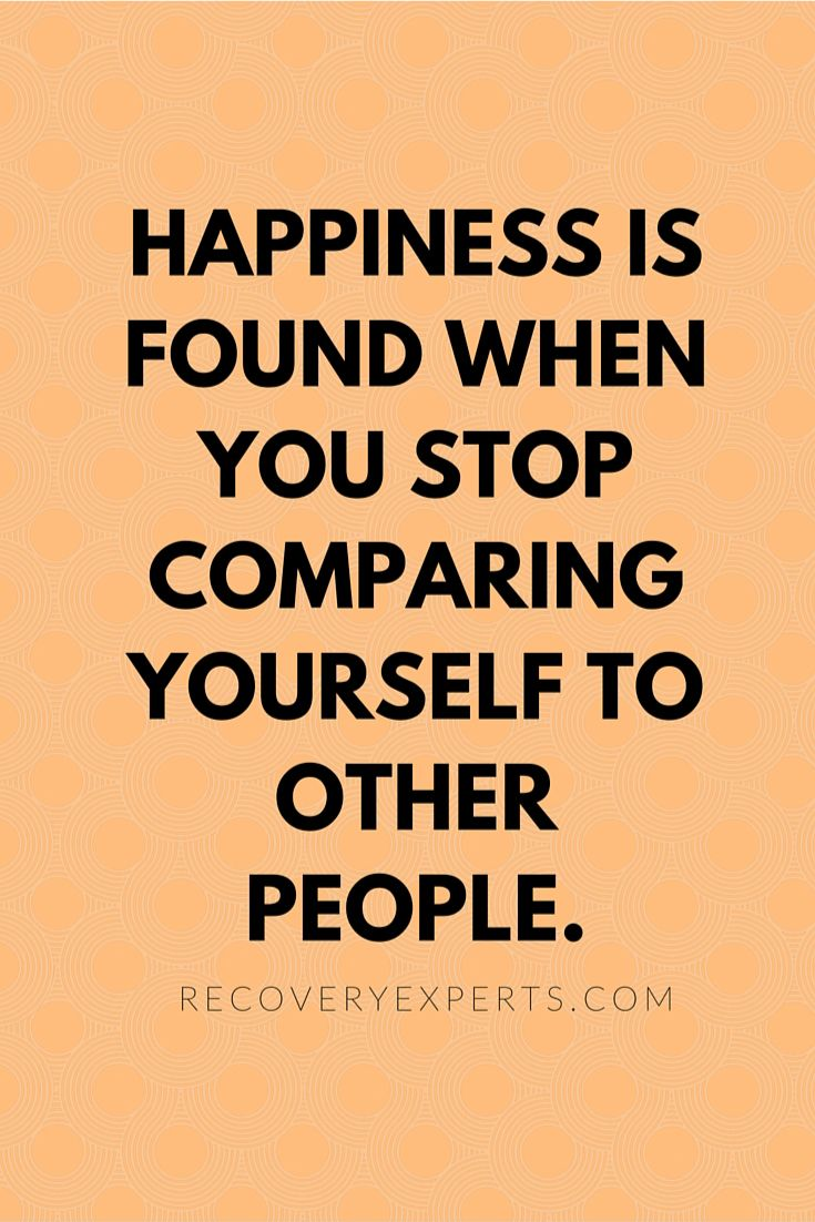 Inspirational Quotes: Happiness is found when you stop comparing yourself to other people.  Follow: https://www.pinterest.com/recoveryexpert