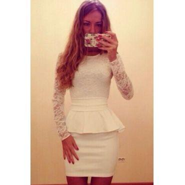 Cute Long Sleeve Lace Peplum Dress