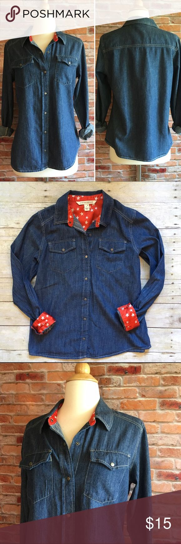 Jones Wear denim button down with star lining Light weight. Snap front denim button down top from Jones Wear. Two bust pockets. Red and white star lined collar and cuffs. In excellent condition. Size Medium. jones wear Tops Button Down Shirts