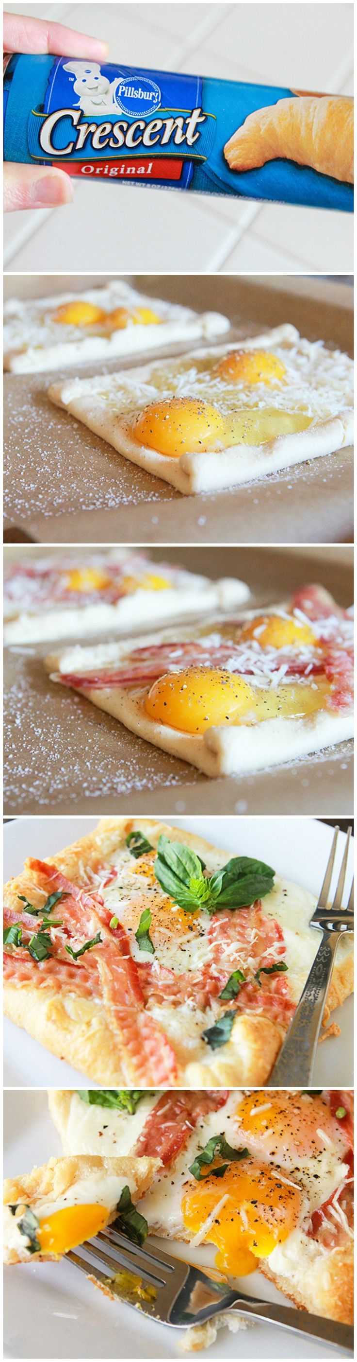 Bacon Egg & Crescent Squares. Quick and easy. You can substitute grated cheddar for the Parmesan. The basil adds extra flavor, but definitely not necessary for the overall dish.