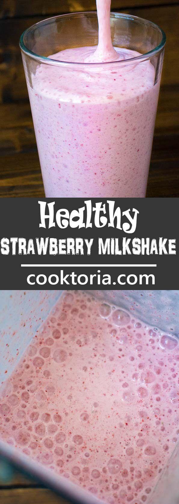 This Healthy Strawberry Milkshake is made with frozen bananas, fresh strawberrie…