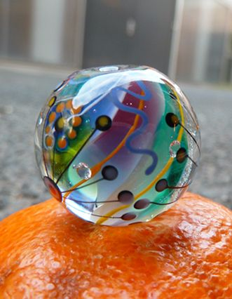 Handmade glass focal in rainbow colors. Click here to order https://www.etsy.com/listing/208105439/lampwork-marble-bead-with-satellite?ref=shop_home_active_8 #rainbow #marble #bead #glass #art #jewelry