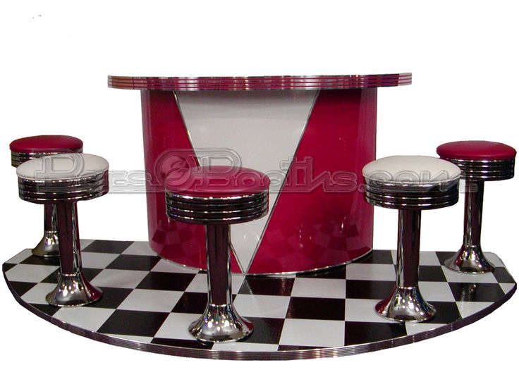 """Roberta's Bar  includes: 1.  4' x 8' Custom Floor Covered in Black and White with 1 1/2"""" Polished Grooved Metal Banding; 2.  (5) B5T3 Classic Floor Mount Soda Fountain Barstools; (3) in Burgundy Zodiac and (2) in Silver Zodiac with black stripes around chrome rings 3.  Laminated Cabinet in High Gloss Red with White """"V"""" 4.  Custom Cut Boomerang Laminate Bartop Banded in 2.25"""" Polished Grooved Metal Banding; 5.  Plus many other features (not enough space to list)"""