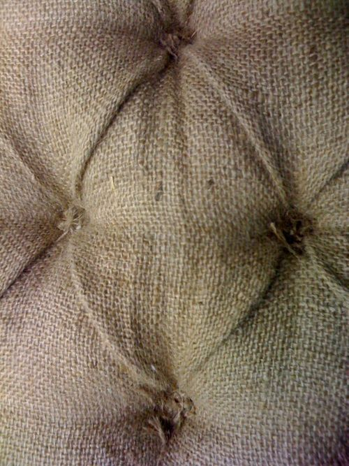burlap - tie the tufts instead of making buttons