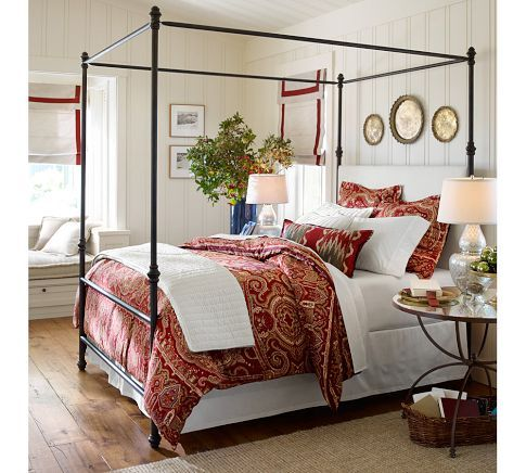 Antonia Metal Canopy Bed King Aged Bronze Finish