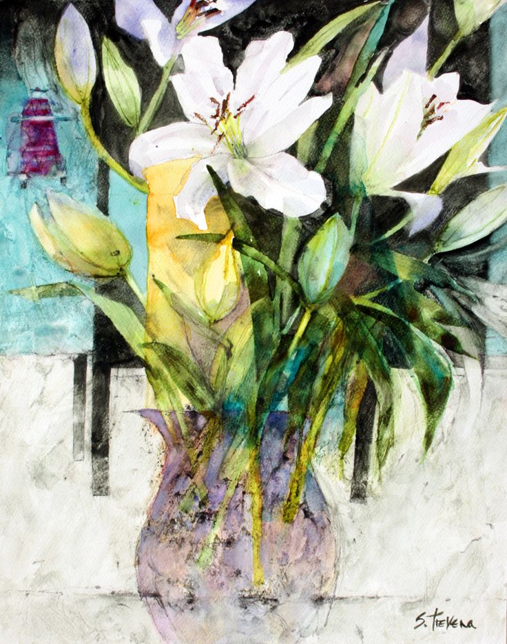 White Lilies in a Purple Glass Vase