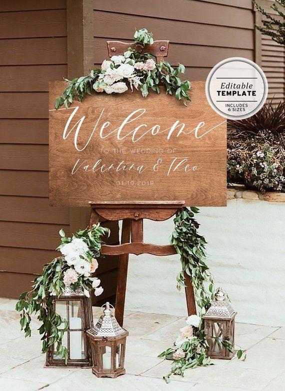 Rustic Wood Wedding Welcome Sign Editable Template, Boho, Welcome Sign, Wedding Sign, Baby Shower, Bridal Shower, Printable, Rustic Wedding – Boda