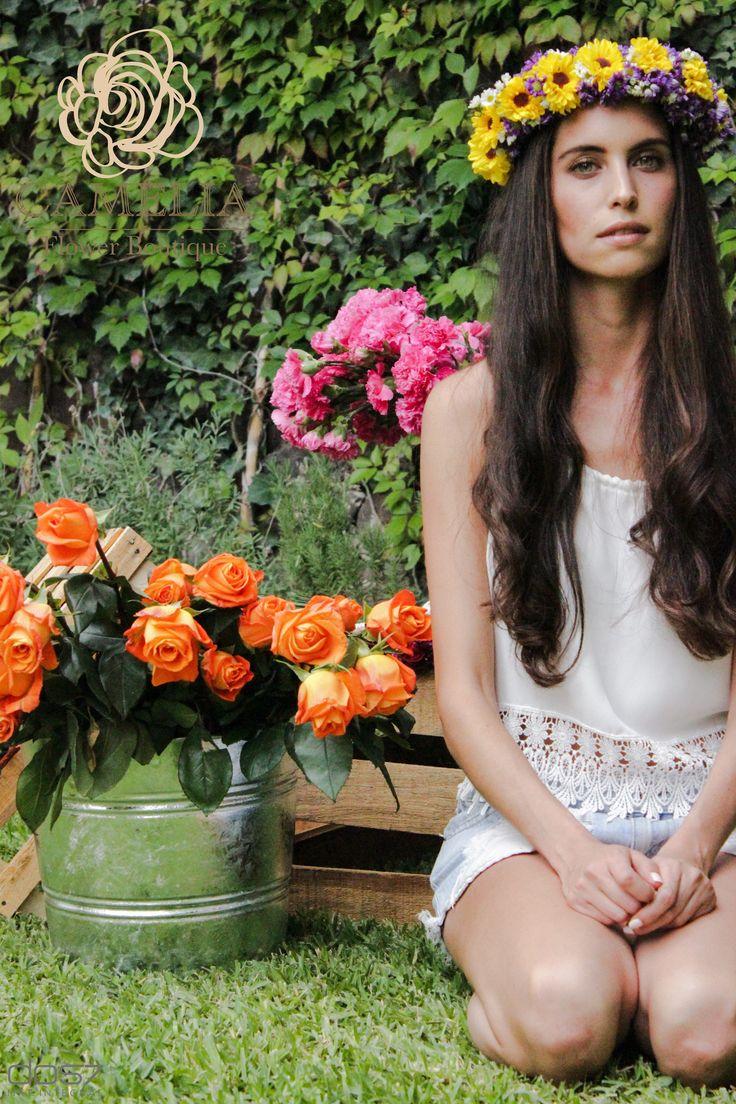 Primavera/verano flores en la cabeza