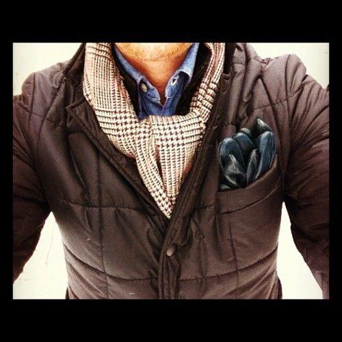 chocolate brown box quilt coat, scarf, denim shirt