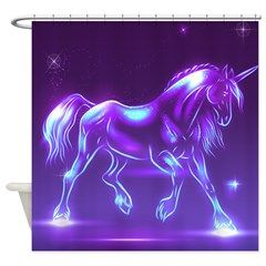 Glass Unicorn Fantasy Purple Shower Curtain> Decorator Shower Curtains> MORE PRODUCTS-CLICK HERE-GetYerGoat.com