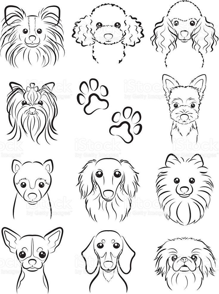 Cão/linha de desenho vetor e ilustração royalty-free royalty-free