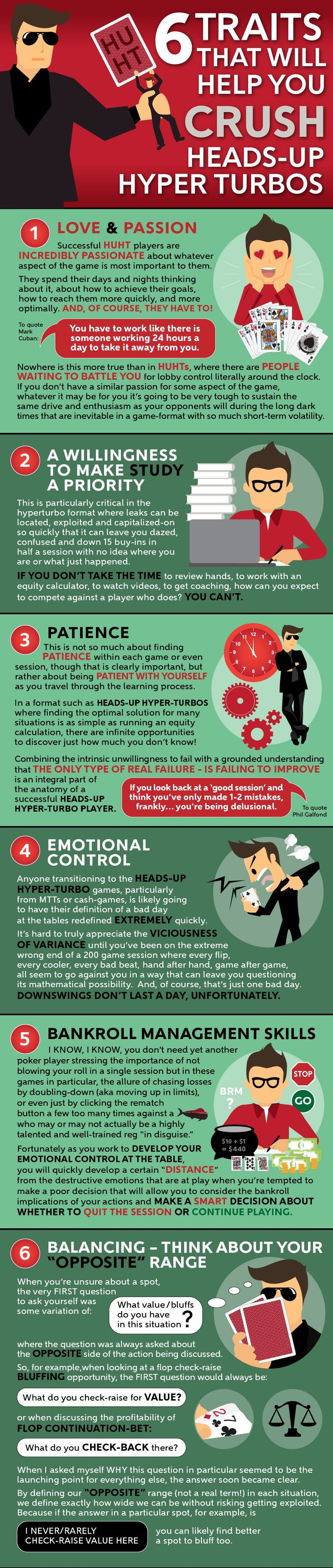 6 traits that most winning poker players, but particularly heads up hyper turbo players, have in common.
