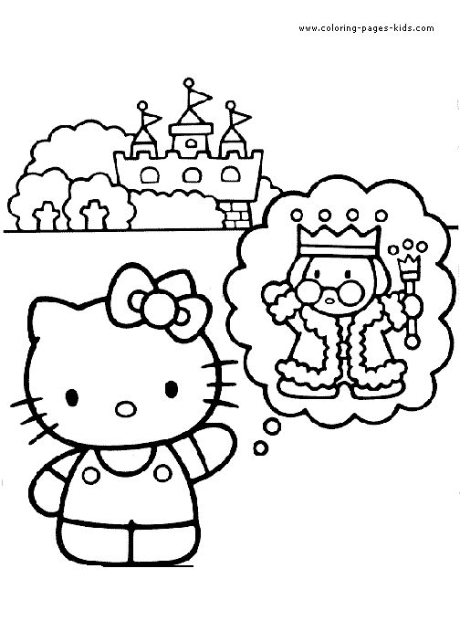 hello kitty color page coloring pages for kids cartoon characters coloring pages printable - Printable Coloring Pages Kids