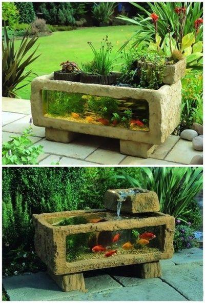Planting trough to fish tank