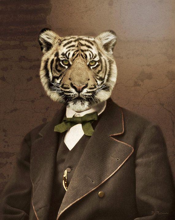 """Кошка Картина, Тигр, дикой природы, животных Фото Коллаж, антропоморфный, викторианский стимпанк, Винтаж Портрет, """"человек тигра"""""""