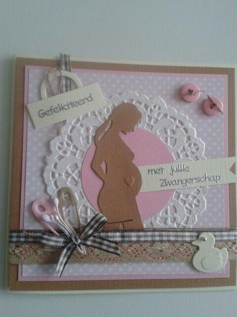 Zwangerschapskaart met lint.knoopjes. Beetje versieren en klaar...